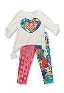 Rare Editions Mixed Heart Top and Legging Set