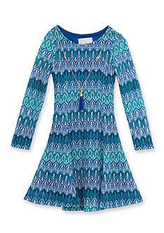 Rare Editions Blue/Green Crochet Dress Girls 4-6X