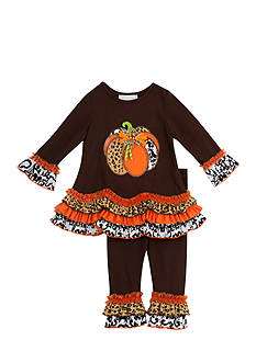 Rare Editions Mixed Media Pumpkin Legging Set Girls 4-6x