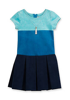 Rare Editions Blue Suede Pleated Dress Girls 4-6X
