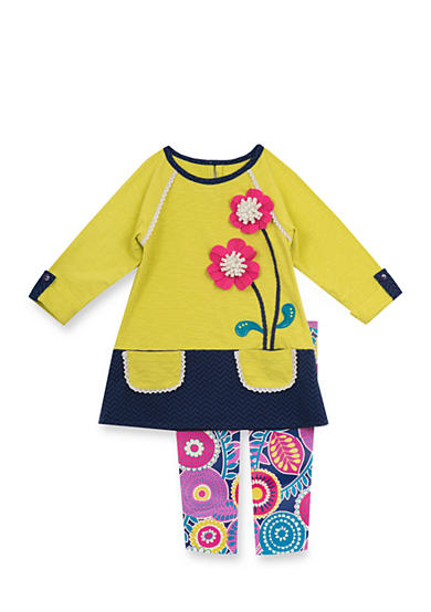 Rare Editions Growing Flower Colorblock Legging Set Girls 4-6x