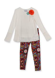 Rare Editions Knit Top and Floral Leggings Set Girls 4-6x