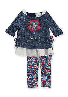 Rare Editions 2-Piece Floral Top and Legging Set Girls 4-6x