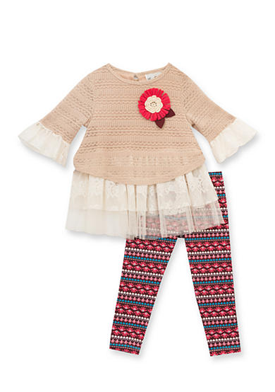 Rare Editions 2-Piece Sweater and Floral Leggings Set Girls 4-6x