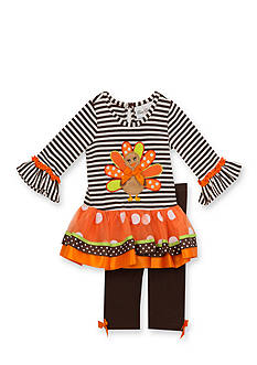 Rare Editions Two Piece Turkey Print Tunic & Leggings Set Girls 4-6x