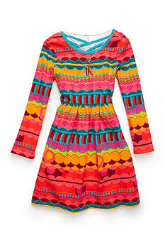 Rare Editions Multi-Color Geo Print Baby Doll Dress Girls 7-16
