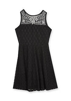 Rare Editions Lace Illusion Gem Dress Girls 7-16