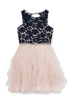 Rare Editions Girls 7-16 Lace Cascade Dress