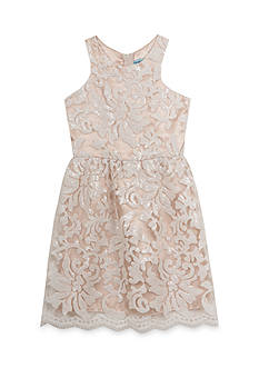 Tween Diva by Rare Editions Social Taupe Lace Embroidered Dress Girls 7-16