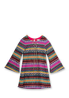 Rare Editions Crochet Stripe Lace Up Dress Girls 7-16