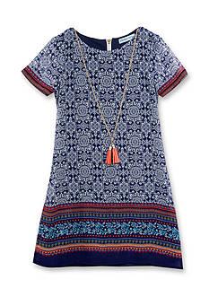 Rare Editions Border Print Dress Girls 7-16
