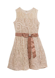 Rare Editions Soutache Lace Dress with Bow Girls 7-16
