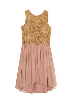 Rare Editions Lace and Sequin Bodice with Lace Skirt Dress Girls 7-16