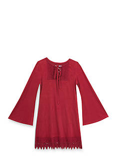 Rare Editions Suede Dress with Crochet Girls 7-16