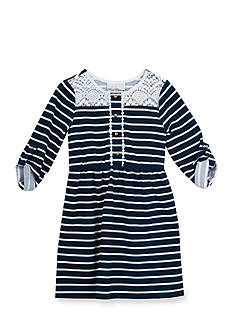 Rare Editions Lace Striped Dress Girls 7-16