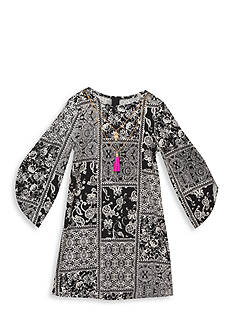 Rare Editions Print Shift with Multi Chain Necklace Dress Girls 7-16
