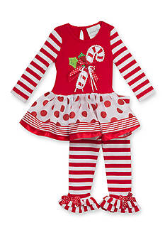 Rare Editions 2-Piece Stripe Candy Cane Tunic & Leggings Set Girls 4-6x
