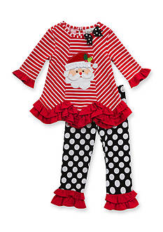 Rare Editions Santa Stripe Tunic and Dot Leggings Set Girls 4-6x