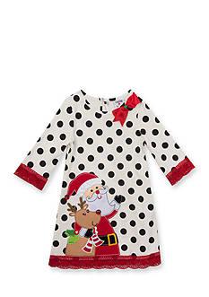 Rare Editions Santa Rudolf Dot Dress Girls 4-6x