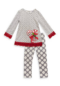 Rare Editions Candy Cane Tunic And Legging Set Girls 4-6x