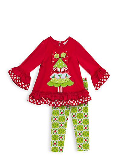 Rare Editions Girls 7-10 Red Tree Top And Legging Set