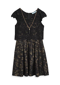 Rare Editions Girls 7-16 Lace Popover Dress