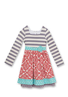 Rare Editions Girls 7-12 Striped Mixed Media Dress