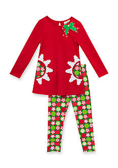 Rare Editions Girls 7-10 Snowflake Top And Legging Set