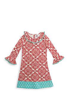 Rare Editions Girls 7-10 Medallion Print Trim Dress