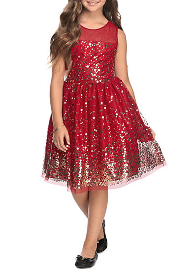 Rare Editions Sequin Flare Dress Girls 7 16 Belk