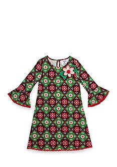 Rare Editions Girls 7-12 Multi Christmas Geo Dress