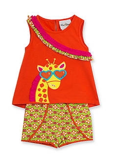 Rare Editions 2-Piece Giraffe Top and Floral Short Set Girls 4-6x