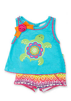 Rare Editions 2-Piece Turtle Tribal Top and Short Set Girls 4-6x