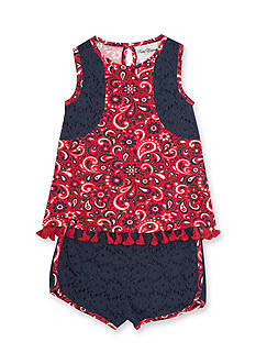 Rare Editions 2-Piece Printed Top & Lace Short Set Girls 4-6x