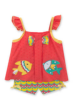 Rare Editions 2-Piece Fish Top and Printed Short Set Girls 4-6x