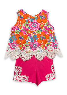 Rare Editions Floral Top and Solid Short 2-Piece Set Girls 4-6x