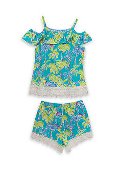 Rare Editions Tropical Cold Shoulder Top and Short 2-Piece Set Girls 4-6x