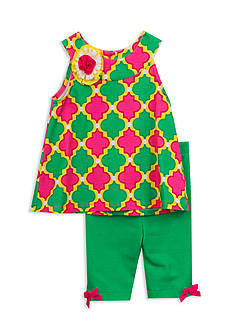 Rare Editions Geo Print Top and Shorts 2-Piece Set Girls 4-6x