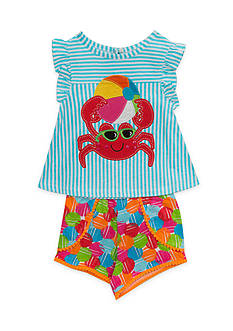 Rare Editions Crab Top and Short 2-Piece Set Girls 4-6x
