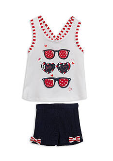 Rare Editions Sunglasses Top and Shorts 2-Piece Set Girls 4-6x