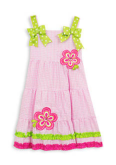 Rare Editions Tiered Flower Seersucker Dress Girls 4-6x