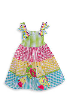 Rare Editions Tiered Fish Seersucker Dress Girls 4-6x