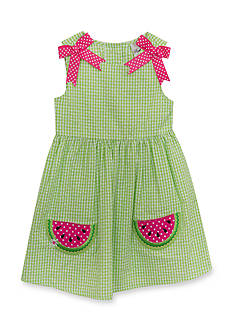 Rare Editions Watermelon Seersucker Dress Girls 4-6x