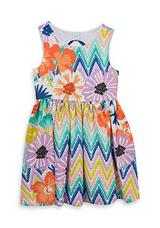 Rare Editions Floral Chevron Dress Girls 4-6x