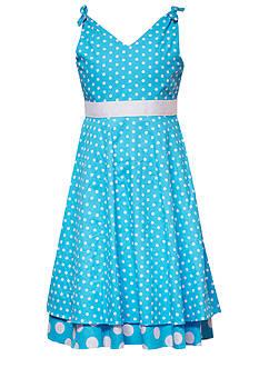 Rare Editions V-Neck Polka Dot Dress Girls 7-16