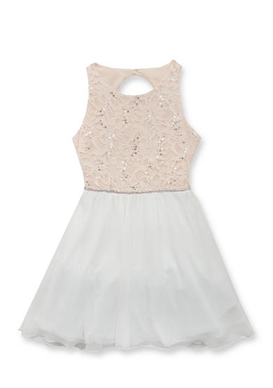 Rare Editions Social Sequin Lace Dress Girls 7-16