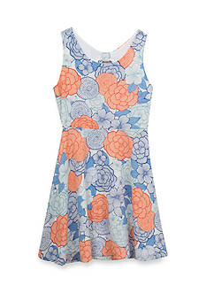 Rare Editions Floral Print Bow Back Dress Girls 7-16