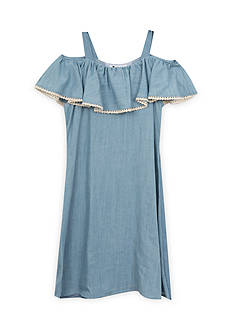 Rare Editions Chambray Off the Shoulder Dress Girls 7-16