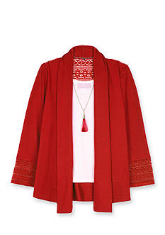 Amy Byer Girls 7-16 Hatchi Lace Trim Cardigan