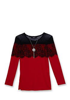 Amy Byer Girls 7-16 Lace Illusion Band Top